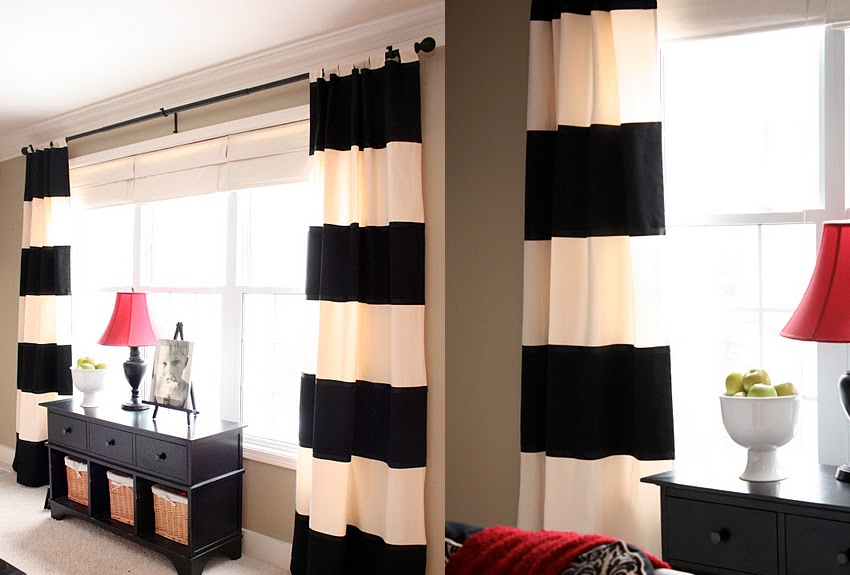 Friday link love glitter inc Bold black and white striped curtains